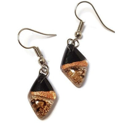Small Diamond Shaped Black, brown and Cooper Recycled Fused Glass Earrings