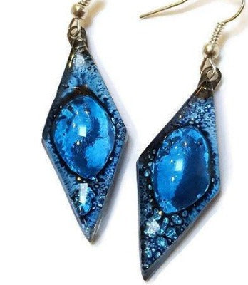Long Diamond Shape blue Recycled Glass Drop Earrings. Glass Dangle earrings