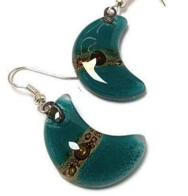 Teal and Brown Moon Earrings Recycled Glass Drop Earrings. Glass Jewelry - Handmade Recycled Glass Jewelry