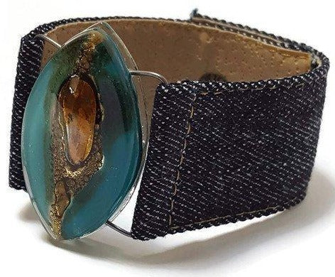 Teal Brown Fused Glass and reclaimed Demin Cuff.  Bracelet.