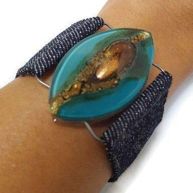 Teal Brown Fused Glass and reclaimed Demin Cuff.  Bracelet. - Handmade Recycled Glass Jewelry