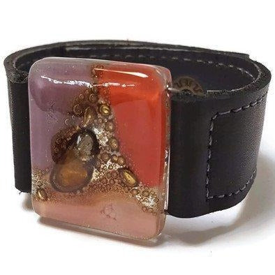 Red, pink, lilac and brown  Recycled Glass and black leather cuff. Reclaimed Leather Bracelet - Handmade Recycled Glass Jewelry