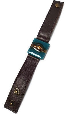 Teal Green and Brown  Recycled Glass  and teal Leather cuff Bracelet