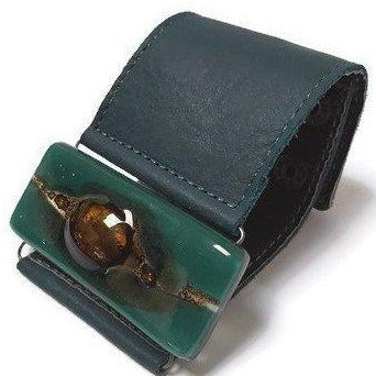 Teal and Brown Fused Glass and Leather Bracelet. Wide Leather Cuff. - Handmade Recycled Glass Jewelry