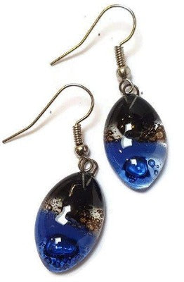 Blue, black and brown Drop Earrings. Leaf Shaped fused glass dangle earrings