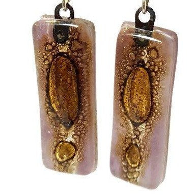 Lilac and Brown Long Earrings. Different bubbles. Recycled Glass earrings. Fused glass jewelry.