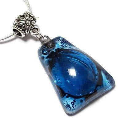 Blue Fused Glass small Pendant. Recycled Glass Necklace