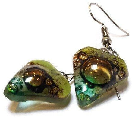 Brown and Green heart shape Fused Glass Drop Earrings. Recycled Glass Dangle Earrings