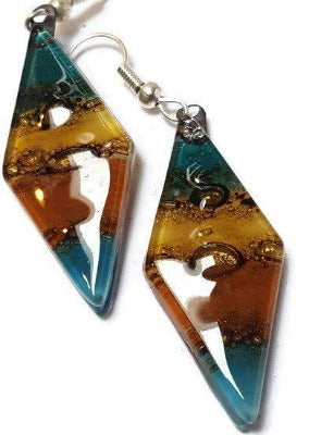 Long Diamond Shape multi color Recycled Glass Drop Earrings. Glass Dangle earrings