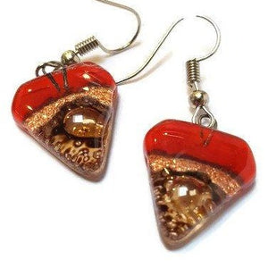 Red, Copper and Brown heart shape Fused Glass Drop Earrings. Recycled Glass Dangle Earrings - Handmade Recycled Glass Jewelry