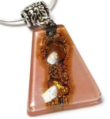 Pink and Brown Fused Glass small Pendant. Recycled Glass Necklace