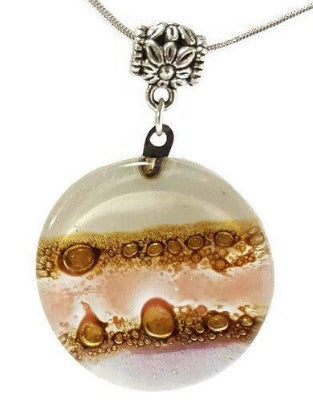 Pink, lilac, White and Brown  Round Recycled Glass Pendant