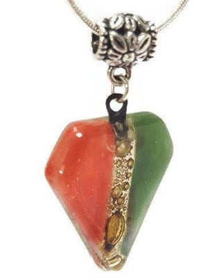 Fused Glass Pendant . Red, green and Brown Glass Necklace. Silver Plated Chain.