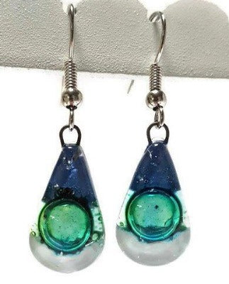 Fused Glass small Teardrop earrings. Blue white green Drop earrings