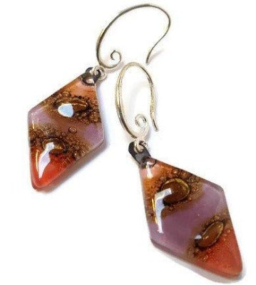 Fused Glass pink, lilac, rose Brown Diamond Shape Recycled Glass Drop Earrings.