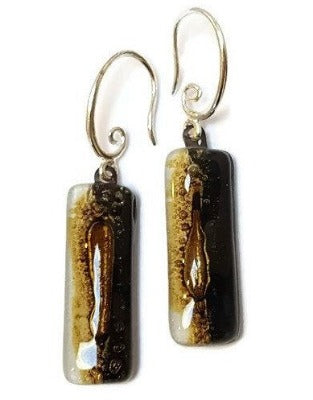 Fused glass Black white and brown earrings. Oblong neutral colors recycled glass  Dangle earrings