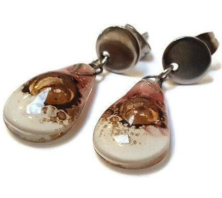 Fused Glass small Teardrop pink  white and brown Drop earrings- Recycled Fused Glass dangle Earrings.