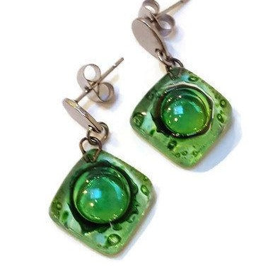 Small green recycled fused glass post dangle earrings. Drop earrings. Handmade Stud drop earrings