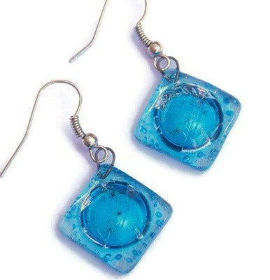 Square Turquoise Recyled Glass Earrings. Small fused Glass Earrings. Glass art