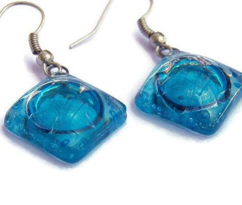 Square Turquoise Recycled Glass Earrings. Small fused Glass Earrings. Glass art