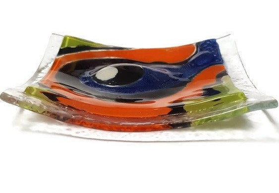 Mini Ring Holder. Small jewelry Dish for decoration. Fun colors Orange, Blue and Green small Tray