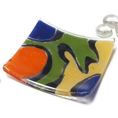 Mini jewelry tray. Recycled fused glass small decoration dish. Ring holder.