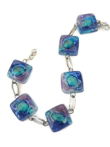 Recycled Fused Glass Blue, Turquoise and lilac Bracelet