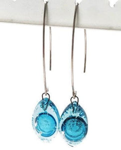 Long open oval V drop earrings. Blue recycled glass drop dangles.