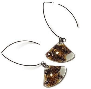 Long fused glass dangle drop earrings. Elegant open oval V wire on white , dark purple and  brown recycled glass beads.