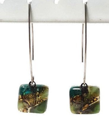 Long fused glass Drop earrings. Forest Green and brown Sand V-wire recycled glass dangles.