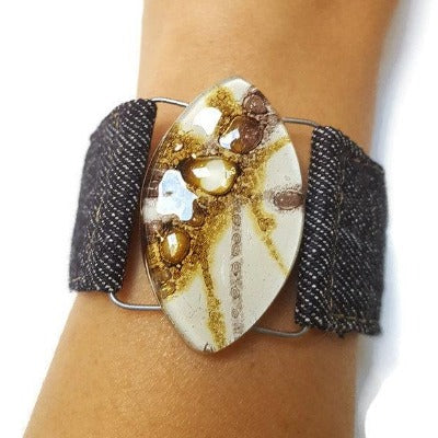 Denim Bracelet. White dark purple and Brown Fused Glass and reclaimed Denim Cuff.