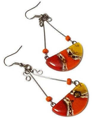 Red Yellow, orange and Brown Recycled Fused Glass Chandelier earrings