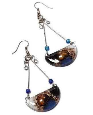 Handmade Fused Glass Long Chandelier earrings Blue, Black Brown and white