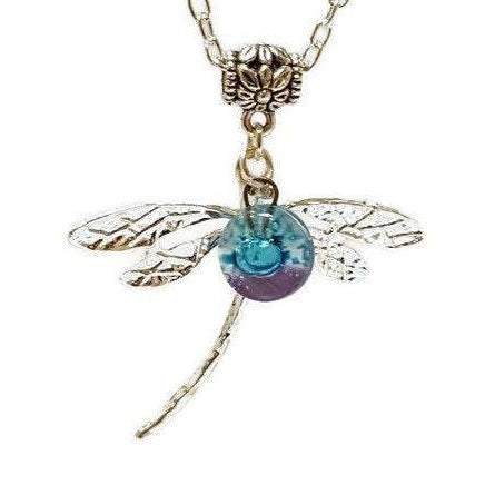 Dragonfly necklace. Recycled fused glass  white, lilac and turquiose bead.