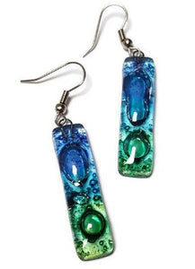 Blue Green Recycled Glass Earrings. Best Long drop earrings. Fused Glass Dangle Earrings. Top seller Earrings.
