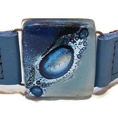 Leather cuff BLUE  painted glass and reclaimed metallic baby blue Handmade bracelet.