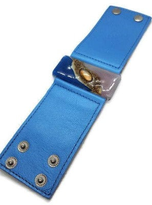 cuff. Wide Leather Cuff Bracelet. Fused Glass Jewelry. Blue Bracelet.