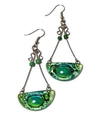 Chandelier Earrings. Recycled Fused GLass green beads.