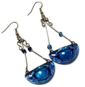 recycled glass handmade chandelier earrings. Blue!!
