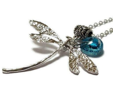 Dragonfly necklace. Recycled fused glass turquoise bead.