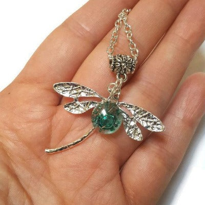 Dragonfly necklace. Recycled fused glass green bead.