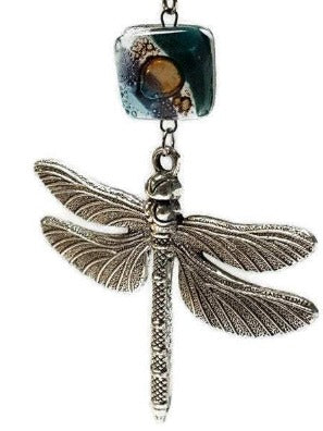 Big Dragonfly Pendant. Recycled Glass Long Necklace, Teal, brown and blue.
