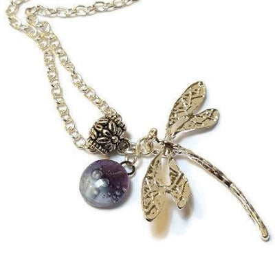 Dragonfly necklace. Recycled fused glass lavender color bead.
