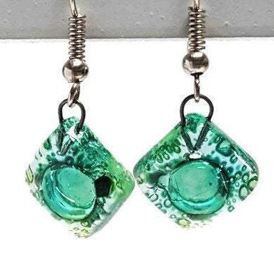 Small green recycled fused glass dangle earrings. Drop earrings. Handmade earrings