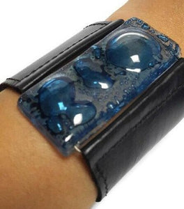 Black Leather and blue Glass Cuff Bracelet!! Recycled fused glass wide leather bracelet