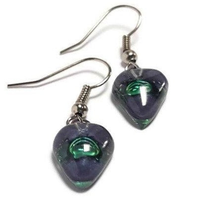 Small purple and green Earrings. Heart Shape Recycled glass Jewelry. Fused glass purply gray drop Earrings.