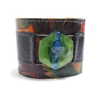 Floral and black Reclaimed Leather Wide Cuff Bracelet. Green and blue Fused Glass and Leather Wrist band