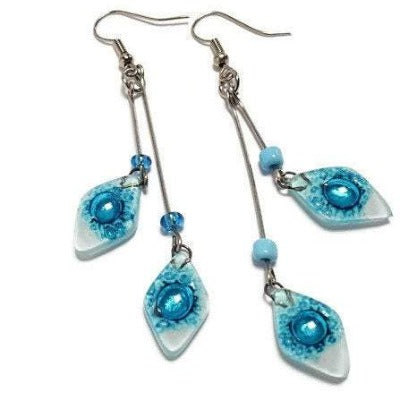 Long multiple bead. earrings turquoise and white