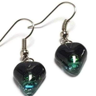 Small turquoise, green and black Earrings. Heart Shape Recycled glass Jewelry. Fused glass  drop Earrings.