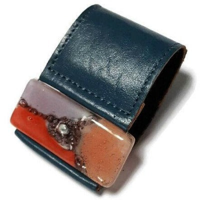 Wide Leather Cuff. Teal Leather Bracelet. Recycled glass Bracelet. Blue-Teal leather Cuff Red Manganese Lavender and pink.